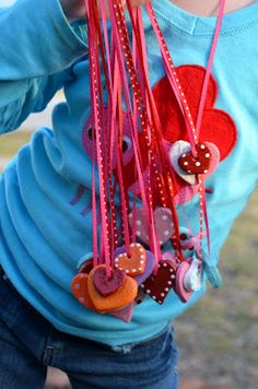 salt dough valentine heart necklaces. I had one of these when I was in grade school!