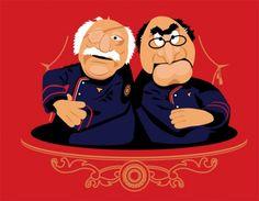 Awesome Battlestar Galactica/Muppet mashup featuring Statler & Waldorf as Tigh & Adama.