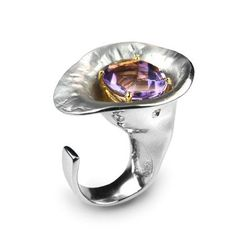 Ring by German Kabirski. Sterling silver amethyst, and rhodium and gold plating. Art Nouveau Jewelry, Jewelry Art, Jewelry Rings, Silver Jewelry, Silver Rings, Jewelry Design, Jewlery, Contemporary Jewellery, Modern Jewelry