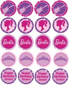Cupcake Toppers - Barbie Princess & the Popstar Party  Catjilash Design on Etsy
