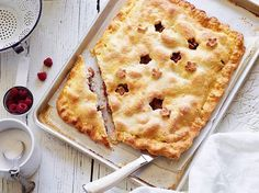 Recipe of the Day: Flaky Nectarine-Raspberry Slab Pie  Pies of the circular persuasion are here to stay, but this rustic, freeform number might sway you away from your pie-crimpin' customs for a beat. Baked on a preheated baking sheet, it's like an oversized, super-flaky hand pie filled with juiciest-as-ever fruit. [Link in bio]