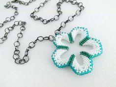 Beadwork Flower Power Peyote Necklace Pendant by MadeByKatarina