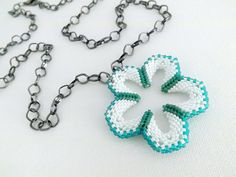 Beadwork Flower Power Peyote Necklace Pendant by MadeByKatarina