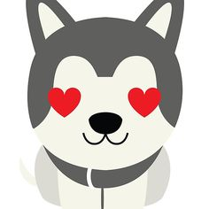 Siberian+Husky+Emoji+Heart+and+Love+Eyes