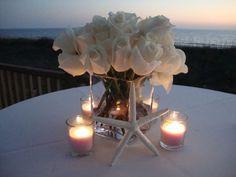 beachside centerpiece I made :  wedding beach candles centerpiece diy flowers reception roses starfish summer white DSC09934