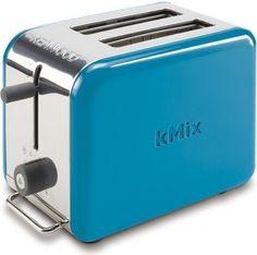 Modrý design kovového toustovača kMix s funkciou rozmrazovania a s tlačidlom pre prerušenie programu kedykoľvek počas opekania.