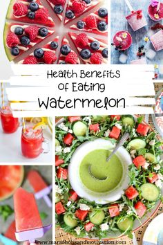 Health benefits of eating watermelon. This delicious fruit is low in calorie, helps maintain hydration, and is heart healthy! Check out all of health boosting nutrients found in watermelon along with some delicious watermelon recipes! Best Fruits, Healthy Fruits, Healthy Eating Recipes, Healthy Foods, Healthy Desserts, Watermelon Mint Feta Salad, Watermelon Recipes, Benefits Of Eating Watermelon, Nutrients In Watermelon