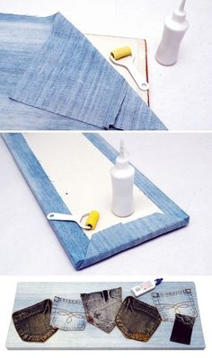 Denim is a sturdy fabric that can be used for various crafts. Consider recycling denim jeans into some useful things at home such as these cute cushions, a Jean Crafts, Denim Crafts, Diy And Crafts, Diy Projects To Try, Craft Projects, Sewing Projects, Craft Ideas, Fun Look, Fabric Crafts