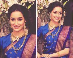 navy blue bridal saree