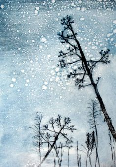Here Comes the Nighttime - Drypoint etching with monotype by Abigail Harper