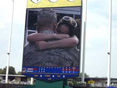 Greatest Marriage Proposal Ever - Kansas City Royals Baseball Game Digital Sign (Eddie and Celi) this would be the coolest way ever! So cliche but hands down the sweetest and coolest Royals Baseball, Baseball Games, Marry Me Quotes, Air Force Love, Proposal Videos, Marriage Proposals, Kansas City Royals, Military Life, Life Moments