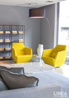 Facett Armchairs in Coda Yellow Fabric; designed for #LigneRoset. LINEA Inc. 8841 Beverly Blvd. Los Angeles, CA 90046 info@linea-inc.com