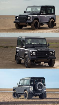 The 2015 Land Rover Defender Autobiography - 2.2 l diesel, 4 cylinders, 4WD, 150hp. Special edition built to celebrate its production end after 67 years. This vehicle has proven brave on any terrain and weather condition. One of the best off-road cars ever conceived, as the years have rolled on, the Defender has remained relatively unchanged. Extreme toughness, feral off-road, 100% British heritage. Image from: www.topspeed.com