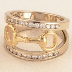 14k Yellow and White Gold Snaffle Bits RING with .50 tcw Diamonds