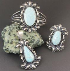 Beautiful Handmade Number 8 Turquoise Bracelet, Pendant & Ring Set by Derrick Gordon
