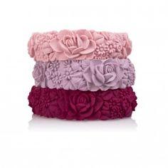 Fullspot flower bracelet cipria-viola pastello-bordeaux tulle e confetti