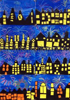 """Fireworks - Kids Artists: december 2012  """"Show pictures or movies about fireworks and discuss what this looks like. Use crayons to draw fireworks on a white sheet. Paint this with blue liquid water colour paint. Let dry.  Cut a skyline out of half a sheet of black paper. Paste this on the blue sheet. Cut windows from yellow or orange paper.  Draw a yellow chalk line on the roofs and smudge it."""""""