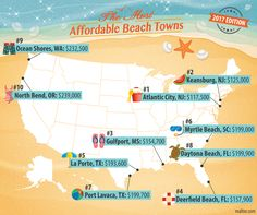 Even if you have trouble swinging the cost of a beachfront home in the Hamptons, South Beach, or Malibu, it doesn't mean owning a place with a soul-soothing view of clear, blue waters is off the table. Just check out this list of the most affordable beach towns, 2017 edition!