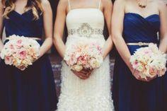 Navy, blush & champagne wedding--blush/white flowers instead of powder blue?