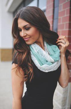 Dottie Couture Boutique -  Jersey Lace Scarf- Mint, $12.00 (http://www.dottiecouture.com/jersey-lace-scarf-mint-1/)