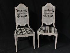FRENCH SHABBY CHIC CAFE DE PARIS CANED BACK SIDE CHAIRS.