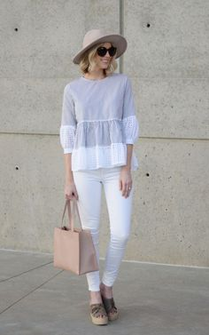 This striped eyelet peplum top is the cutest! I love the fit fabric. It's perfect for spring, and I love how it pairs with white denim. Summer Outfits, Casual Outfits, Cute Outfits, Fashion Outfits, Denim Outfits, Blouse Styles, Blouse Designs, White Denim, White Peplum