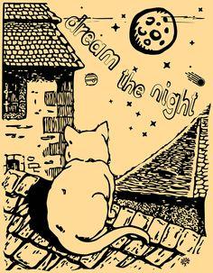 un gato observa el cielo nocturno, la luna, las estrellas, constelaciones, cometas, desde el tejado de un antiguo caserío -  A cat observes the night sky, the moon, the stars, constellations, comets, from the roof of an old farmhouse -  un chat regarde le ciel de nuit, la lune, les étoiles, les constellations, les comètes, depuis le toit d'une ancienne ferme -  un gatto guarda il cielo notturno, la luna, le stelle, le costellazioni, le comete, dal tetto di un antico casale -