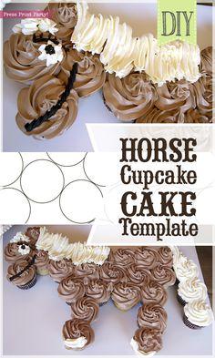 Horse Cupcake Cake Template - Unicorn cupcake cake - horse birthday cake - by Press Print Party! Horse Birthday Parties, Cowboy Birthday, Cool Birthday Cakes, Birthday Cake Girls, Birthday Diy, Birthday Ideas, Cupcake Birthday Cake, Cowboy Party, Birthday Recipes