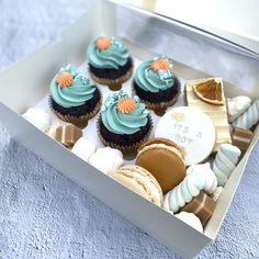 Welcome a precious new baby boy into the world with delicious sweet treats for the new parents! Our It's A Boy Dessert Box includes: SIGNATURE CUPCAKES Salted Caramel Cupcakes, Chocolate Cupcakes, Mini Cupcakes, Dessert Boxes, Cupcake Boxes, Chocolate Topping, Chocolate Box, Swiss Meringue Buttercream