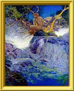 """The Errant Pan by Maxfield Parrish is the frontispiece from Scribner's Magazine; """"The Errant Pan"""" by George T. Marsh, August 1910"""