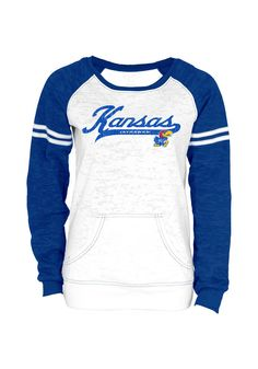 Kansas Jayhawks Womens Crew Sweatshirt - White/Royal Blue Jayhawks Red, Blue Long Sleeve Sweatshirt