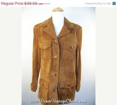 50% Off Summer Clearance Vintage V Wear Camel Tan Suede Leather Jacket sz M