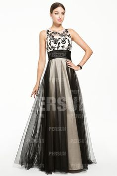Bicolor Full length Formal Evening Dress with Flower Embroidery [PPDA0077]- AU$ 171.83 - DressesMallAU.com
