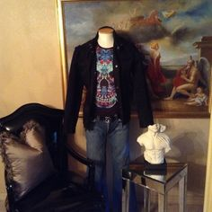 INC International Concepts Distressed Jacket ExceLlent Condition, INC International Concepts Authentic, 5 Pockets Throughout, Distressed Effect, Size Large, Military Style INC International Concepts Jackets & Coats