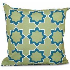 Simply Daisy 16 inch x 16 inch Bohemian 2 Geometric Print Pillow, Blue