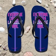 Everyone Loves A Lacrosse Girl on Navy Flip Flops - Kick back after a lacrosse game with these great flip flops! Fun and functional flip flo...