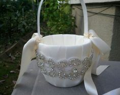 Wedding Flower Basket, Flower Girl Basket, Rhinestone Flower Basket  - Style BK1009