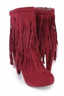 Berry Fringe High Heel Ankle Booties Faux Suede