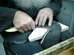 To begin learning shoemaking craft you don't need prior experience, no special skills, no special tools, no exuses. All you need is your determination, pacion for this craft and internet connaction.  It is a pic of Greek priest learning shoemaking from our shoemaking courses online