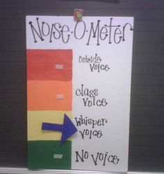 Great idea for teaching children how to modulate their voices for primary, a Noise-O-Meter.