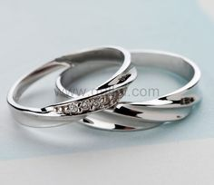Custom Name 925 Sterling Silver Men and Women Promise Rings Set for two