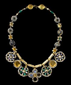 Byzantine Masterpiece Necklace, 6th-7th Century AD This outstanding necklace is among the finest pieces of early Byzantine jewelry still preserved today. It is constructed of gold, beads, sapphires, emeralds, amethysts and glass paste.