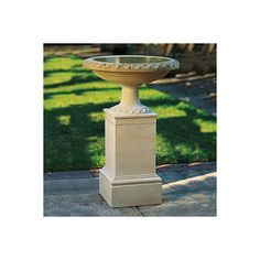 Regency Birdbath And Pedestal ($479) ❤ liked on Polyvore featuring home, outdoors, outdoor decor, fountains & birdbaths, outdoor enhancements, bird garden decor, garden bird bath, garden urns, bird bath and outdoor bird bath