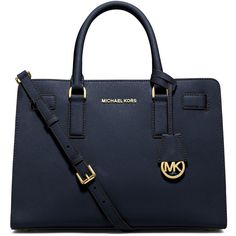 MICHAEL Michael Kors Dillon Saffiano Satchel Bag ($298) ❤ liked on Polyvore featuring bags, handbags, navy, handle satchel, navy handbag, michael michael kors purse, navy blue handbags and navy bag