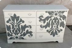 DIY Stencils for Dressers | Shabby Take on the Damask Dresser