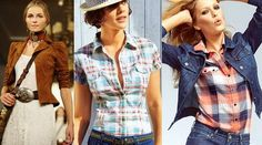 Девушки в рубахах в клетку и джинсе, в стиле кантри