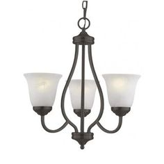 Shop for Cambridge 3-Light Antique Bronze 20 in. Chandelier with White Glass…