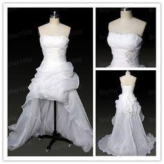 Hi-low Strapless Front short Long Back Applique Organza Bridal Wedding Dresses via Etsy