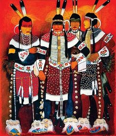 Kevin Red Star - Dancers (The Red Star Brothers) - oil on canvas - 84x72 in