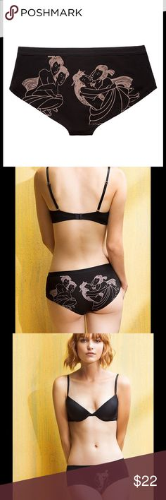 Naja Erotic Art Print Panties From Naja's cheeky knickers collection, the Instruction Manual panty in size medium. The panties are digitally printed with traditional Japanese styled erotic art in a subtle taupe or tan on black. The color is closer to that shown in the package pic than in the promotional photos.  These are comfortable, mid-rise panties that sit just above the hip bone. They are brand new and still in the original packaging. Fabric content: 94% Peruvian Pima cotton, 6%…